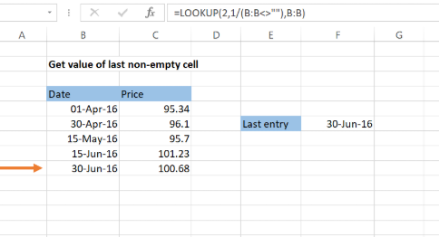 Excel formula: Get value of last non-empty cell