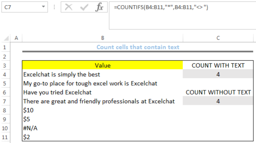 Excel formula: Count cells that contain text - Excelchat