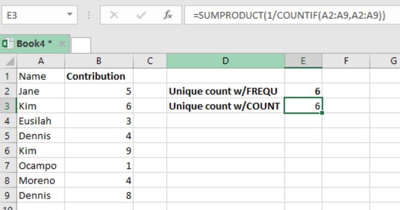 excel how to count unique values