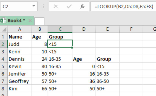 Excel formula: Group numbers at uneven intervals