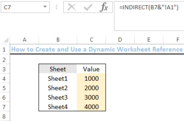 Excel formula: Dynamic worksheet reference