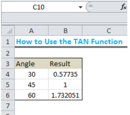 How To Use The Excel Tan Function Excelchat