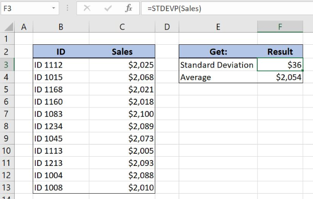How To Use The Excel Stdevp Function