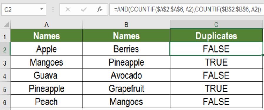 Excel formula: Find duplicate values in two columns