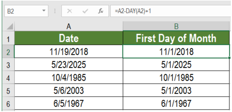 Excel formula: How to get first day of month