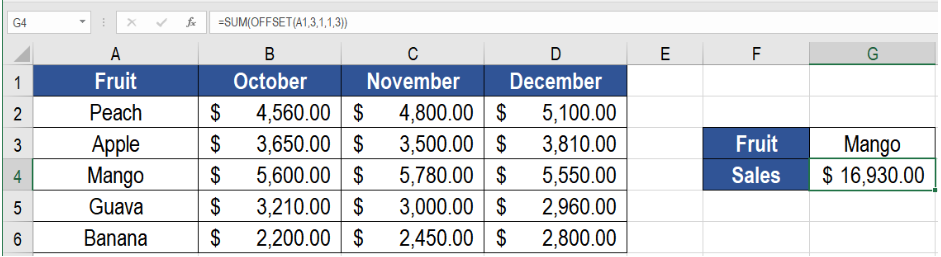 How to use the Excel OFFSET function