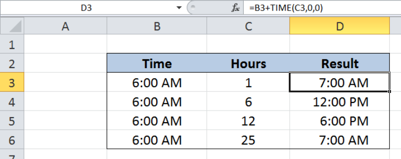 Excel formula: Add decimal hours to time