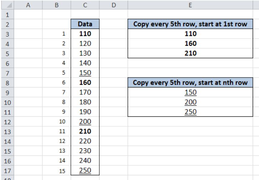 Excel formula: Copy value from every nth row - Excelchat