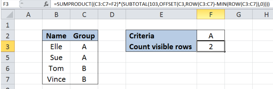 Excel formula: Count visible rows only with criteria - Excelchat