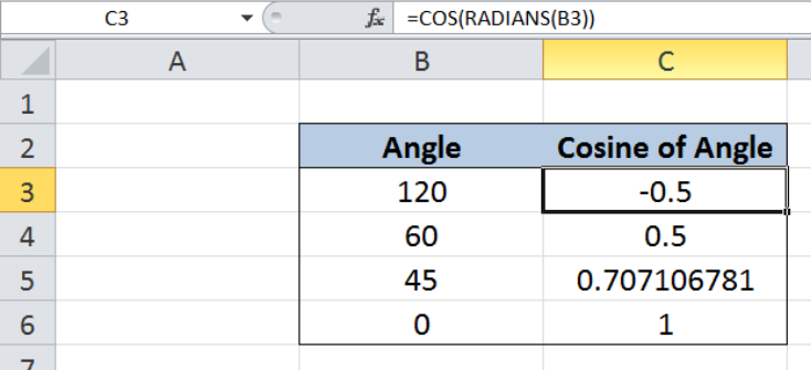 How to use the Excel COS function