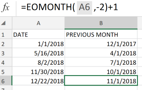 Excel formula: How to get first day of previous month