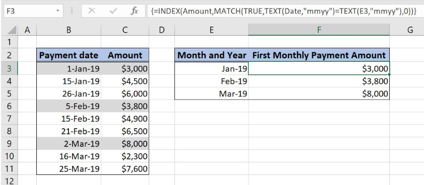 Excel formula: Get first entry by month and year - Excelchat
