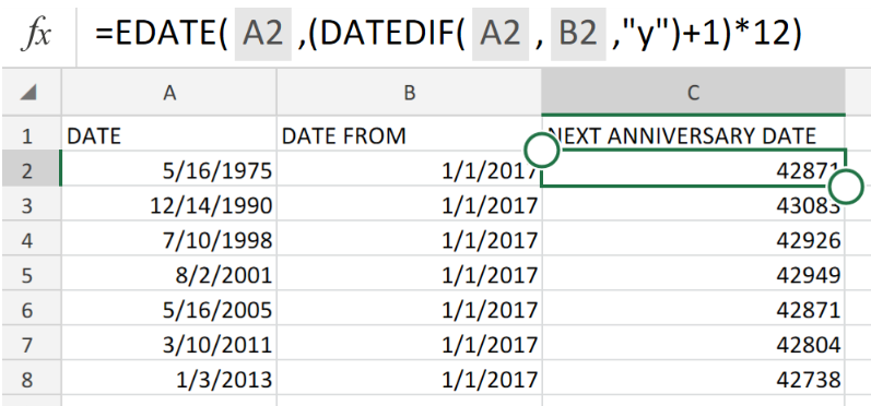 Excel formula: Next anniversary date