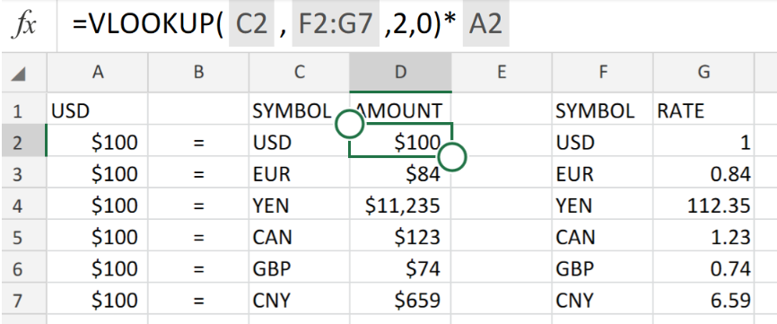 Excel Formula Simple Currency Conversion