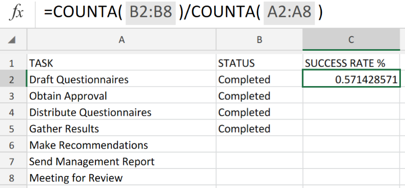 Excel formula: Project complete percentage