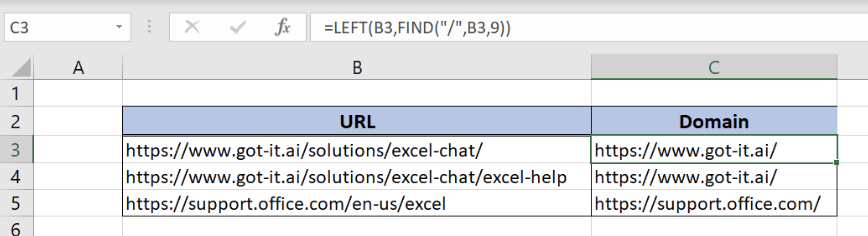 How to Get a Domain Name from a URL in Excel | Excelchat