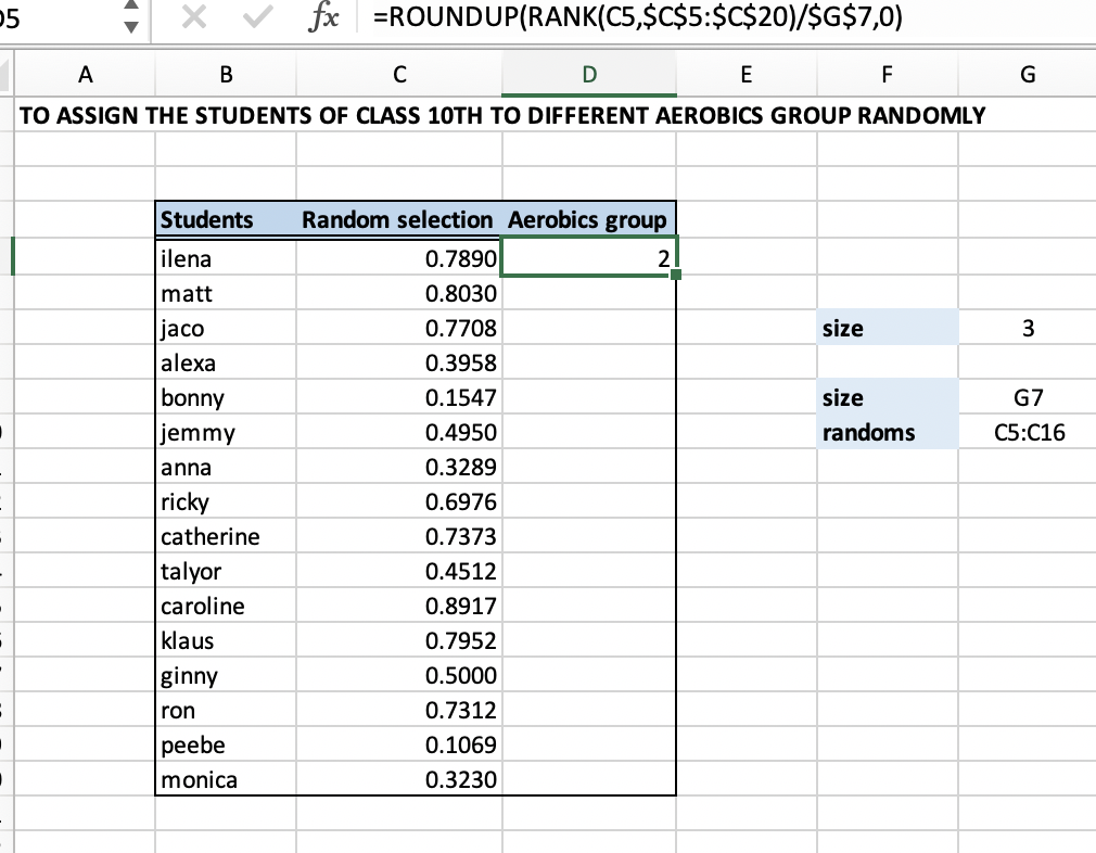 Excel formula: Randomly assign people to groups - Excelchat