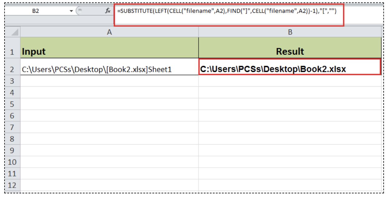 Excel formula: Get workbook name without sheet - Excelchat