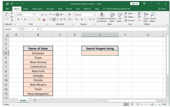 Excel formula: Find longest string in column - Excelchat