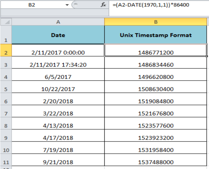 How to Convert a Date to Unix Format in Excel   Excelchat