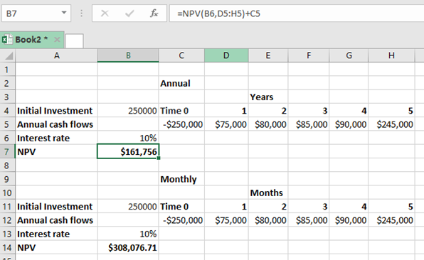 excel npv monthly