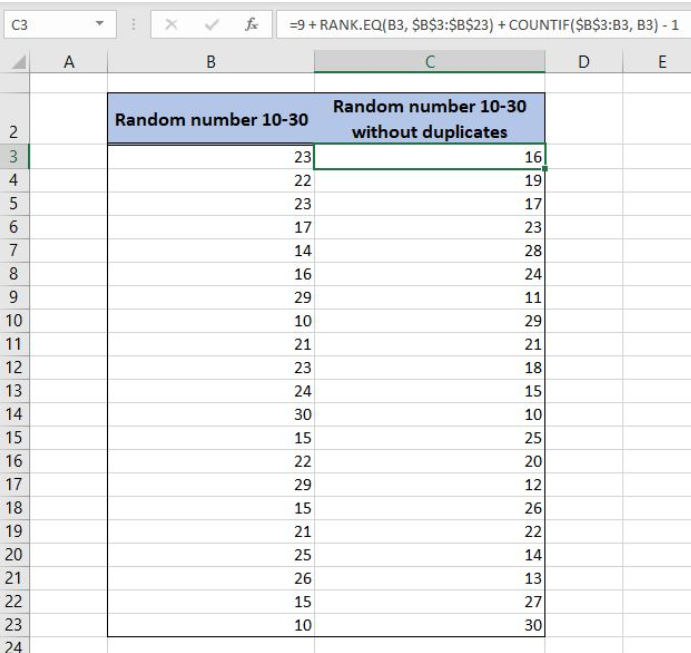 How to Use the RANDBETWEEN Function with No Duplicates