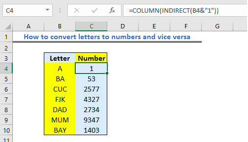 Convert Number To Letter.How To Convert Letters To Numbers And Vice Versa Excelchat